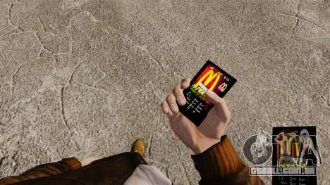 Temas para as marcas de fast food de telefone para GTA 4 terceira tela