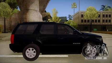 Cadillac Escalade 2011 Unmarked FBI para GTA San Andreas traseira esquerda vista