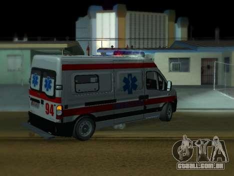 Renault Master ambulância sérvio para GTA San Andreas vista direita