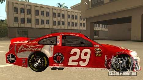 Chevrolet SS NASCAR No. 29 Budweiser para GTA San Andreas traseira esquerda vista