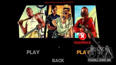 Imagens de menu e bota no estilo de GTA V para GTA 4 por diante tela