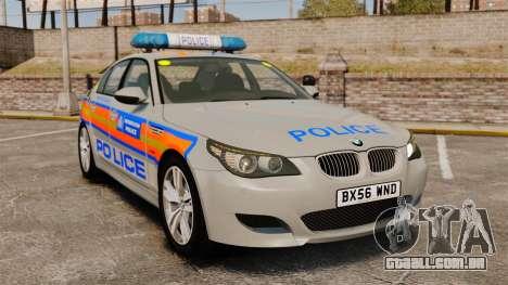 BMW M5 E60 Metropolitan Police 2006 ARV [ELS] para GTA 4