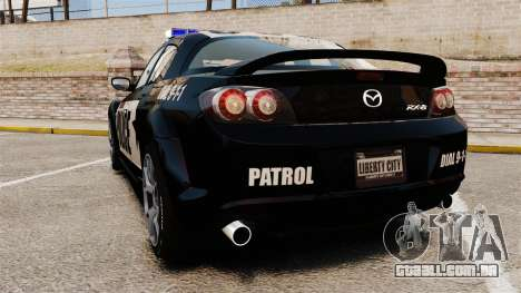 Mazda RX-8 R3 2011 Police para GTA 4 traseira esquerda vista
