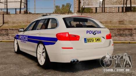 BMW M5 Touring Croatian Police [ELS] para GTA 4 traseira esquerda vista