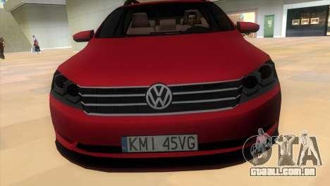 Volkswagen Passat B7 2012 para GTA Vice City vista traseira esquerda