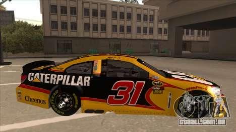 Chevrolet SS NASCAR No. 31 Caterpillar para GTA San Andreas traseira esquerda vista