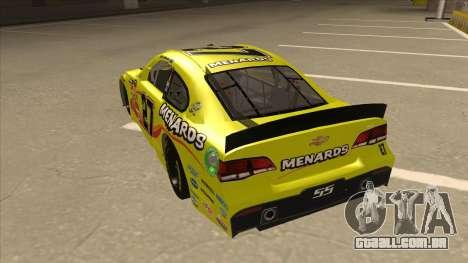 Chevrolet SS NASCAR No. 27 Menards para GTA San Andreas vista traseira