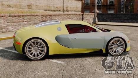 Bugatti Veyron Gold Centenaire 2009 para GTA 4 esquerda vista