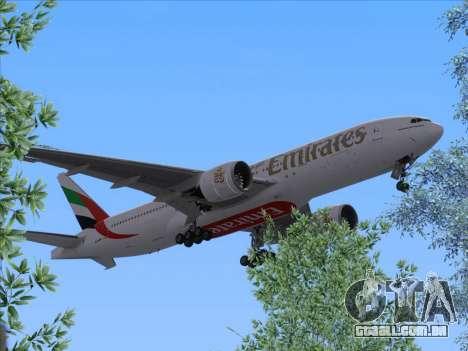 Boeing 777-21HLR Emirates para GTA San Andreas traseira esquerda vista