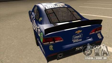 Chevrolet SS NASCAR No. 48 Lowes blue para GTA San Andreas vista traseira