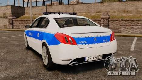 Peugeot 508 Polish Police [ELS] para GTA 4 traseira esquerda vista