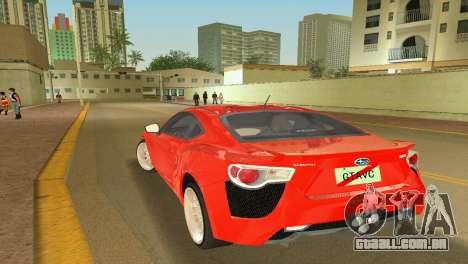 Subaru BRZ Type 2 para GTA Vice City deixou vista