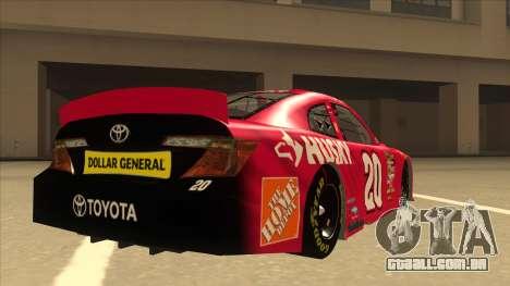 Toyota Camry NASCAR No. 20 Husky para GTA San Andreas vista direita