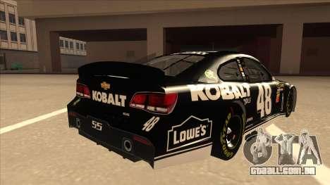 Chevrolet SS NASCAR No. 48 Kobalt Tools para GTA San Andreas vista direita