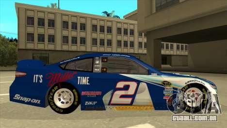 Ford Fusion NASCAR No. 2 Miller Lite para GTA San Andreas traseira esquerda vista