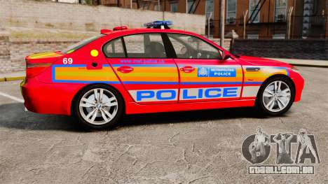 BMW M5 E60 Metropolitan Police 2010 ARV [ELS] para GTA 4 esquerda vista