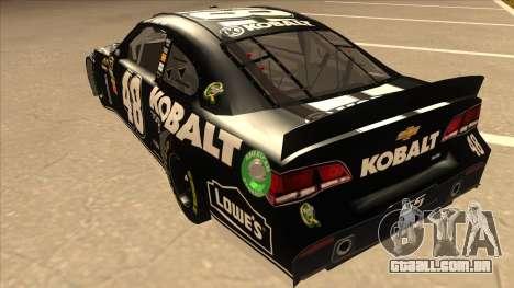 Chevrolet SS NASCAR No. 48 Kobalt Tools para GTA San Andreas vista traseira