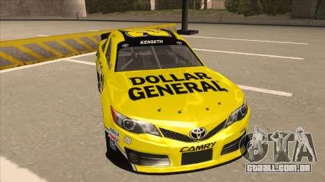 Toyota Camry NASCAR No. 20 Dollar General para GTA San Andreas esquerda vista