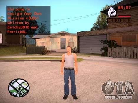 Novo menu e uma nova fonte para GTA San Andreas nono tela
