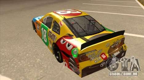 Toyota Camry NASCAR No. 18 MandMs para GTA San Andreas vista traseira