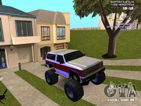 Rancher Monster para GTA San Andreas vista traseira