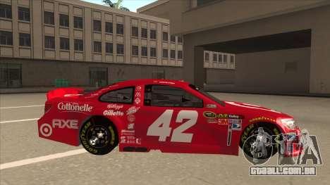 Chevrolet SS NASCAR No. 42 Clorox para GTA San Andreas traseira esquerda vista