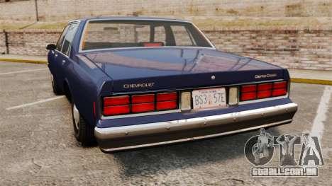 Chevrolet Caprice 1986 para GTA 4 traseira esquerda vista