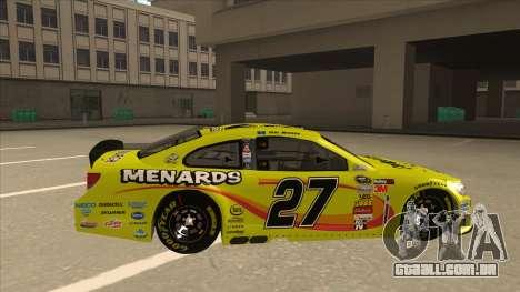 Chevrolet SS NASCAR No. 27 Menards para GTA San Andreas traseira esquerda vista