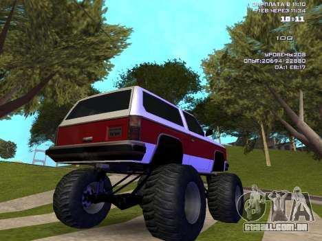 Rancher Monster para GTA San Andreas traseira esquerda vista