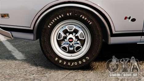 Oldsmobile Cutlass Hurst 442 1969 v2 para GTA 4 vista de volta