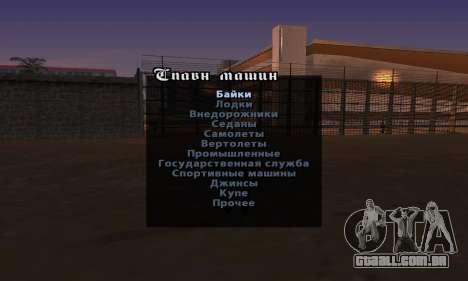 Enganar a versão inglesa do Menu para GTA San Andreas terceira tela