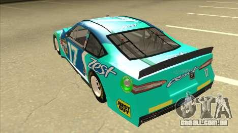 Ford Fusion NASCAR No. 17 Zest Nationwide para GTA San Andreas vista traseira