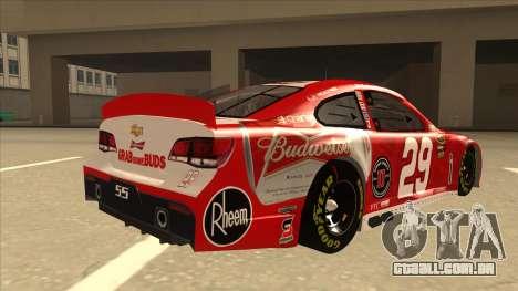 Chevrolet SS NASCAR No. 29 Budweiser para GTA San Andreas vista direita