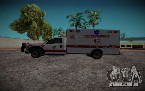 Ford F350 Super Duty San Andreas Emerency Medica para GTA San Andreas esquerda vista