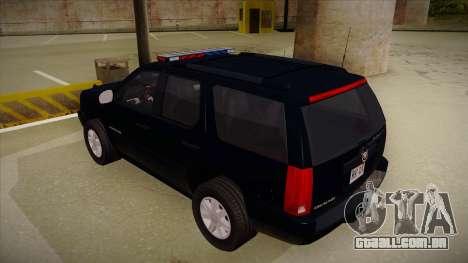 Cadillac Escalade 2011 FBI para GTA San Andreas vista traseira