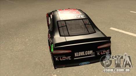 Ford Fusion NASCAR No. 98 K-LOVE para GTA San Andreas vista traseira