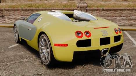 Bugatti Veyron Gold Centenaire 2009 para GTA 4 traseira esquerda vista