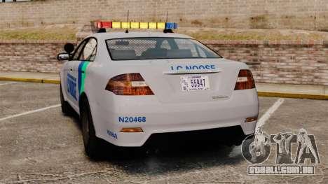 GTA V Vapid Police Stanier Interceptor [ELS] para GTA 4 traseira esquerda vista