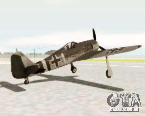 Focke-Wulf FW-190 A5 para GTA San Andreas traseira esquerda vista