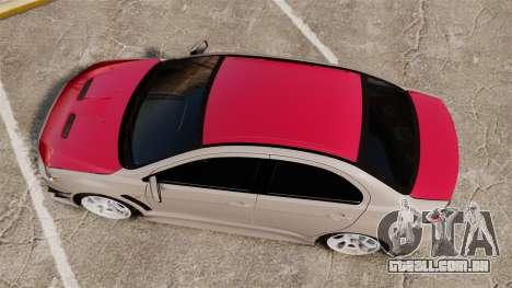 Mitsubishi Lancer Evolution X GSR 2008 para GTA 4 vista direita