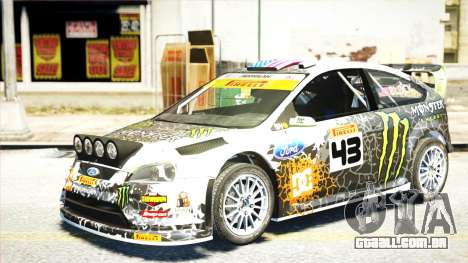 Ford Focus RS Monster World Rally Team WRC para GTA 4 traseira esquerda vista