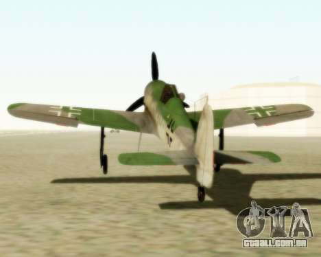 Focke-Wulf FW-190 D12 para GTA San Andreas traseira esquerda vista