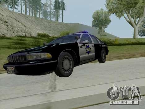 Chevrolet Caprice SFPD 1991 para GTA San Andreas vista superior