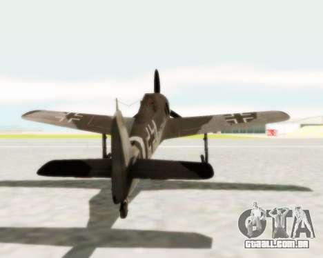 Focke-Wulf FW-190 A5 para GTA San Andreas vista direita