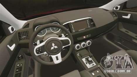 Mitsubishi Lancer Evolution X GSR 2008 para GTA 4 vista interior
