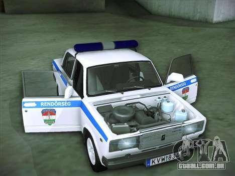 Lada 2107 Rendőrség para vista lateral GTA San Andreas