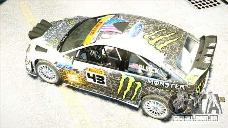 Ford Focus RS Monster World Rally Team WRC para GTA 4 vista interior