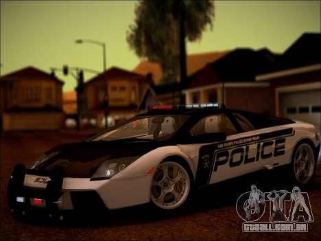 Lamborghini Murciélago polícia 2005 para GTA San Andreas vista traseira