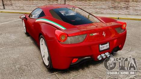 Ferrari 458 Italia 2010 Novitec para GTA 4 traseira esquerda vista