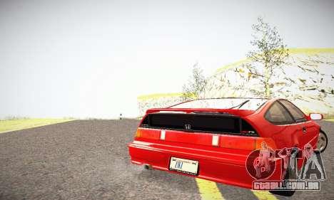 Honda CRX - Stock para GTA San Andreas traseira esquerda vista